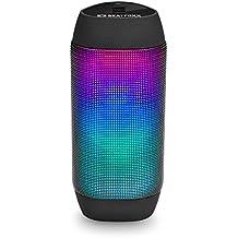 BEAT FOXX ledbeat Reproductor de batería–Altavoz Bluetooth portátil de LED caja de altavoz (Pulso ierender LED de Efecto de luz, USB/SD de entradas para reproducción de MP3y entrada auxiliar, radio FM, 2x 3W RMS), color negro