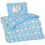 Aminata Kids Kinder-Bettwäsche 100-x-135 cm Zoo-Tier-e Safari Waldtier-e Dschungel Baby-Bettwäsche 100-% Baumwolle Renforce Bunte grün gelb Junge-n und Mädchen Elefant-en