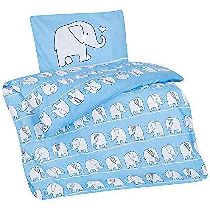 Aminata Kids Baby-Bettwäsche-Set Tiere Elefanten | 100-x-135-cm | Mädchen | Kinder-Bettwäsche Safari aus 100-% Baumwolle | hell-blau, weiß | Marken-Reißverschluss & Öko-Tex