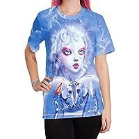 GUYIVVU Frauen Jacke Lace Wilde Frauen Kleidung Party Eye-Catching Jacke Digitaldruck T-Shirt Weibliche Kurzarm Versorgung