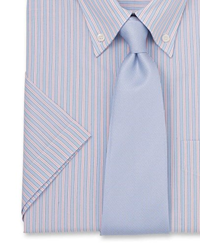 Savile Row Men's Pale Blue Pink White Stripe Classic Fit Short Sleeve Shirt Pale Blue Pink White