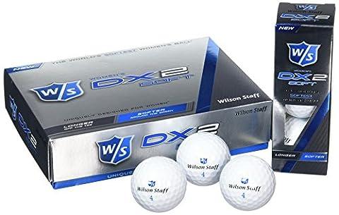 Wilson Staff, Weltweit weichster 2-Piece Damen Golfball für weite Distanzen, 12er-Pack, Fortgeschrittene, 29er Kompression, Kautschuk, DX2 Soft, Weiß, WGWP37300