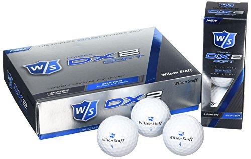 Wilson Staff WGWP37300, Femme Balle de Golf la Plus Souple du Monde en 2 Pièces pour une Distance Maximale, Boîte de 12, Niveau Avancé, Compression 29, Caoutchouc, Dx2 Soft, Blanc