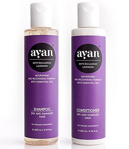 AYAN Naturkosmetik Shampoo & Conditioner Lavendel ✔ Bio-Wirkstoffe ohne Silikone, Sulfate, Parabene ✔ für trockenes und beschädigtes Haar ✔ Glanz und Geschmeidigkeit ✔