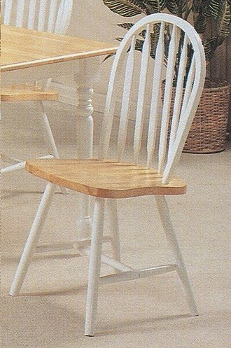 Set of 4 Natural & White Finish Arrow Back Windsor Wood Dining Chairs by AtHomeMart