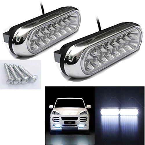 Preisvergleich Produktbild Tagfahrlicht, CICIYONER 2 x Universal 16 LED Auto Van DRL Tag Fahren Nebel Weiß Licht Lampe (A)