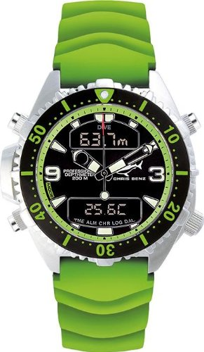 Chris Benz Uhr Taucheruhr Depthmeter Digital CB-D200-G-KBG