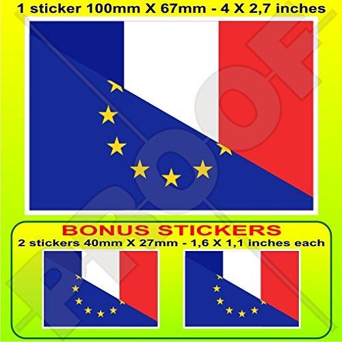 europe-france Drapeau, eu-fr européenne union-french 10,2 cm Bumper Sticker en vinyle (100 mm), en x1 + 2 Bonus