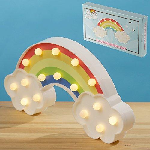LED-Lampe in Form eines Regenbogens mit Wolken. Ideal als Leuchte / Nachtlicht für das Kinderzimmer. Kann Kindern Angst vor der Dunkelheit nehmen. Maße (H x B x T): 16 x 30,5 x 3,5 cm. Batteriebetrieb