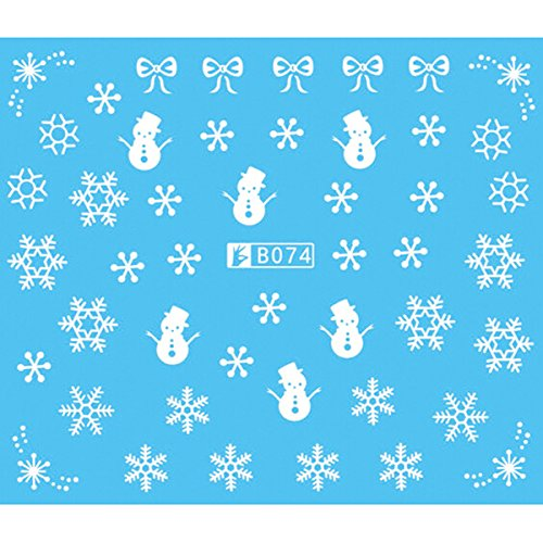 Tinksky Nail Art Stickers Noël Neige Nail Art Design de Stickers Autocollants Décoration Flocon de Neige, Pack de 5