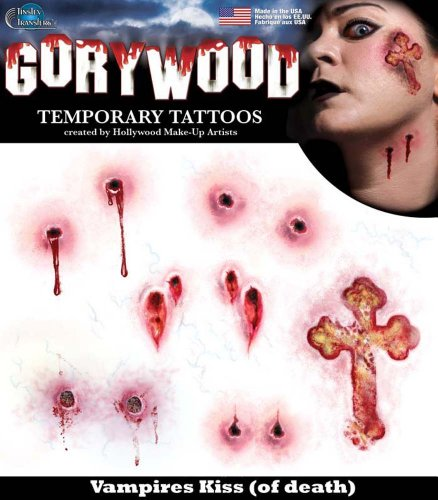 Tinsley Transfers Vampires Kiss Tattoos aus Hollywood. (Kiss Make Up Kostüm)