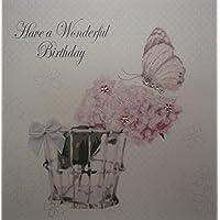 WHITE COTTON CARDS Have A Wonderful, Handmade Birthday Card (Code BD174), 16x16cm