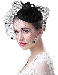 ff2ddb544e3722 Fascinator Hüte 20er 50er Jahre Hut Haar Clip Accessoire Haarreif  Kopfbedeckung mit Schleier Cocktail Tea Party.