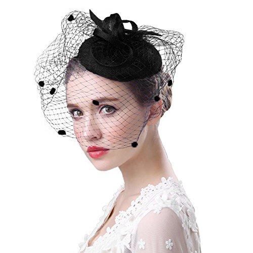 r 50er Jahre Hut Haar Clip Accessoire Haarreif Kopfbedeckung mit Schleier Cocktail Tea Party Hochzeit Kirche Haarschmuck Kopfschmuck für Mädchen und Frauen, Schwarz, M ()
