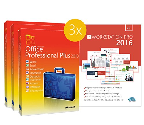Original Microsoft 3PC – Office 2010 PRO (Professional Plus) - 3 Lizenzschlüssel + Lizenza ISO CD / DVD für 32 und 64 bit Deutsch inklusive Workstation 2016 für Office