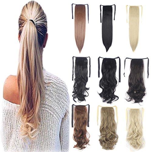 Ein Stück Binden Pferdeschwanz Haarverlängerung mit Klipp Haarteil Bindung Kopfschmuck für Mädchen Dame Frau
