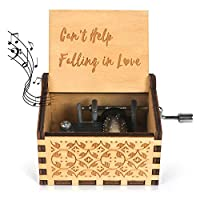 Wooden Music Box-Can't Help Falling in Love Wood Laser Engraved Vintage Hand Cranked Cute Musical Box Best Gifts for Wedding Day/Anniversary/Valentine's Day/Birthday
