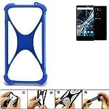 K-S-Trade Bumper für Archos Sense 55 S Silikon Schutz Hülle Handyhülle Silikoncase Softcase Cover Case Stoßschutz, blau (1x)