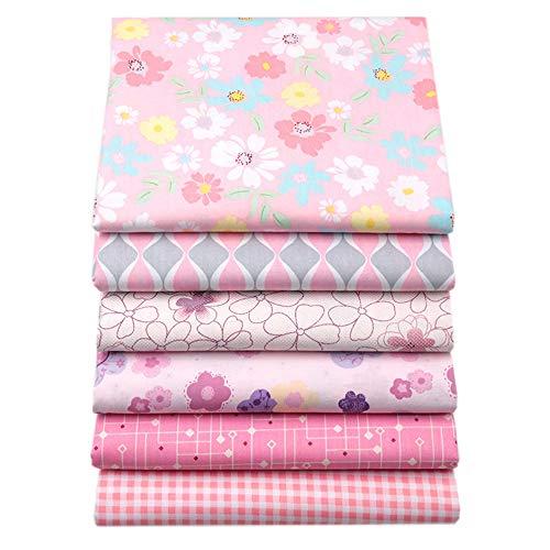 6 Stück Rosa Fat Quarters Quilten Stoff Bundles, 46x56 cm Top Baumwolle Nähen Stoff zum Quilten Craftting, 18