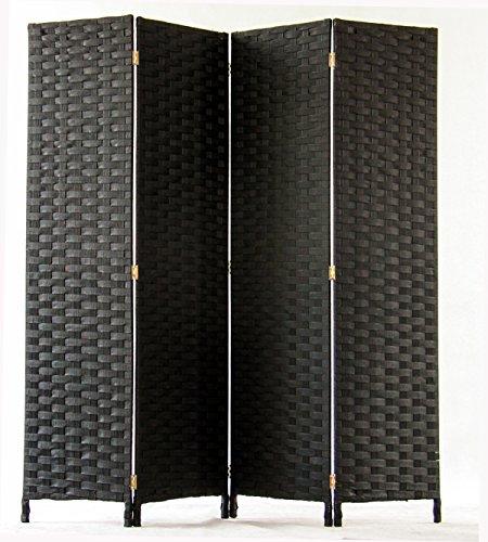 PEGANE Biombo de Fibras sintéticas de 4 Paneles, Color Negro - Dim :