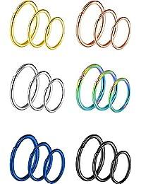 18 Piezas de Aro de Nariz de Acero Inoxidable 20 Gauge Anillo Pendiente para Piercing de Cuerpo, 6 Colores, 3 Tamaños