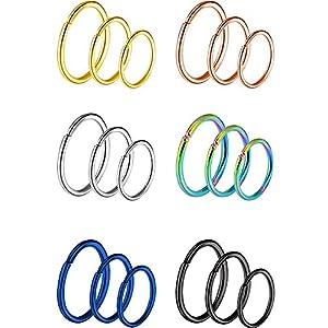 18 Stück 20 Gauge Edelstahl Nase Ring Ohrring Hoop für Körper Piercing, 6 Farben, 3 Größen