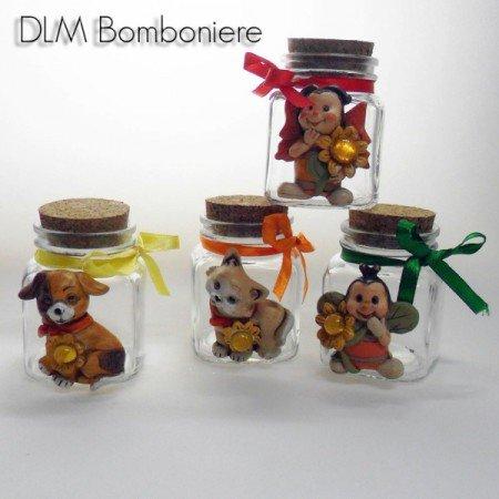 Bomboniere (2 bomboniere) barattoli in vetro con animali assortiti in resina
