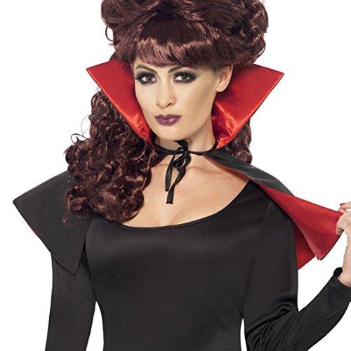 Amakando Halloween Kostüm Damen - rot-schwarz - kurzes Vampir Cape Vampirkostüm Zubehör Dracula Umhang Gothic Hexenumhang Vampirumhang mit Stehkragen