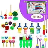 30 Pezzi Pennelli Spugna per Pittura Set Per Bambini Strumenti per L'apprendimento Precoce 29 Pennelli per Pennelli PCS + 1 Borsa, Colori Assortiti e Forme (30 Pezzi)