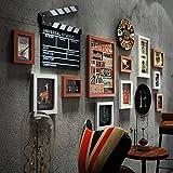 GUOOK Cornice Decorativa Retro Photo Wall-11 Set - Sfondo Orologio da Parete Photo Photo Wall - Industrial Wind Multi (Colore: Nero)