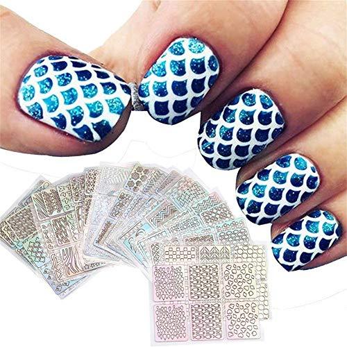 12 Blatt Nail Vinyl Schablonen Nail Art Dekoration Aufkleber Set Nail Art Design Aufkleber Tipps Decals Durable und Praktisch