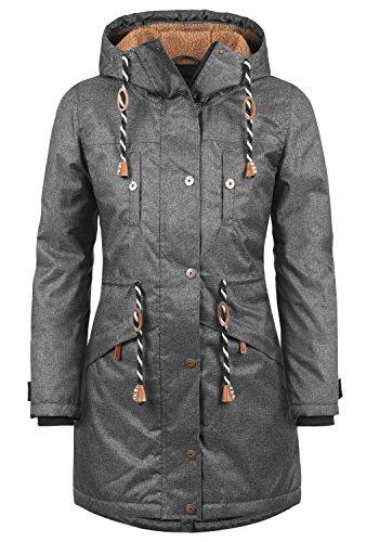BLEND SHE Dale Damen Parka lange Jacke Winter-Mantel mit Kapuze und Teddy-Futter aus hochwertiger Materialqualität, Größe:XL, Farbe:Black Melange (200049)