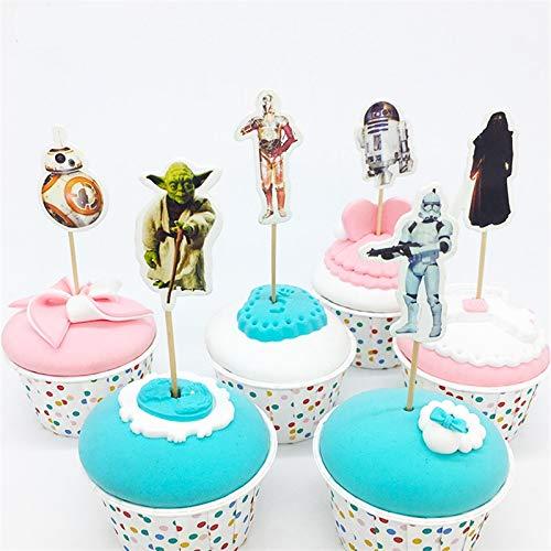 Star Wars Cupcake-Topper und Picks, 24 Stück, für Babyparty, Geburtstagsparty, Gastgeschenke für Kinder und Erwachsene, Kuchen-Zubehör, Dekoration, Servieren Sie 24 Stück