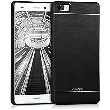 kwmobile Funda para Huawei P8 Lite (2015) - Cover trasero para móvil de aluminio - Case duro negro
