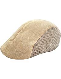 uBabamama Men Summer Visor Hat Sunhat Mesh Running Sport Casual Breathable Beret Flat Cap Beige