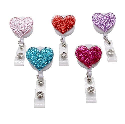 Chun Love Herz ausziehbarem Badge ID Card Badge Holder mit Gürtel Spulen-Clip Schlüssel Schlüsselanhänger Halter, verschiedene Farben, 5 Stück (Gürtel-clip-schlüssel-halter)