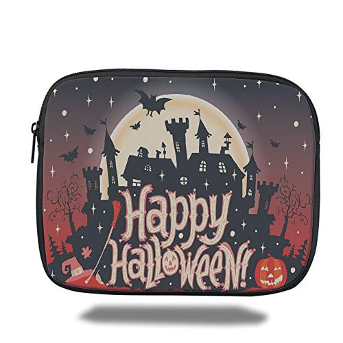 air 2/3/4/mini 9.7 inch,Halloween,Medieval Gothic Castle with Happy Halloween Typography Stars Bats Moon Cheerful,Multicolor,3D Print ()