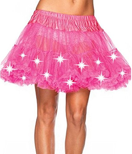 Damen Weihnachten Halloween Party Eine Linie Ballett Tütü Mini Rock mit LED Party Kurz Glam Gothic Vintage Petticoat Tanzkleid Ballett Licht Glam Gotik Tüll Tanz Rock (Einheitsgröße, Rose)