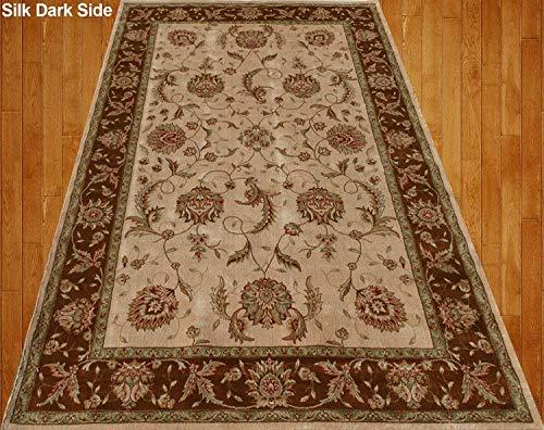 Home Must Haves Area Teppich, Kunstseide, traditionelles persisches Blumenmuster, Beige/cremefarben / Braun/Rot / Grün (X Persisch 15 12 Teppich)
