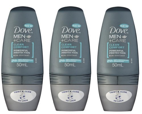 Dove Men Clean Comfort Anti-perspirant Deodorant Roll-on 50ml (1.7 Fluid Ounce). (Pack of 3) by Dove -