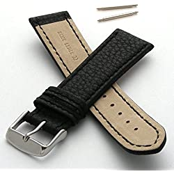 Leather Watch Strap with Coloured Stitching (28mm - Black)