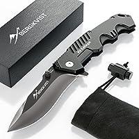 BERGKVIST Klappmesser K9 [2018] Extra scharfes Outdoor Messer in Mattschwarz | Kompaktes Survival Messer & Jagdmesser | Einhandmesser Taschenmesser mit Edelstahlklinge | Ideales Geschenk für Männer