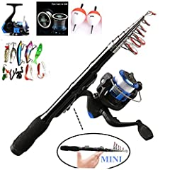 Idea Regalo - Bntteam 5 Packs 2.3m Mini telescopico portatile a mano in fibra di carbonio Sea Fishing Rod e mulinello e esche e linea set 99% Carbon Materials Carp Fishing Rod Combo portatile a mano in fibra di carbonio duro Sea Fishing Pole (Line & Lures & Float Free) (2.3M / 90in )