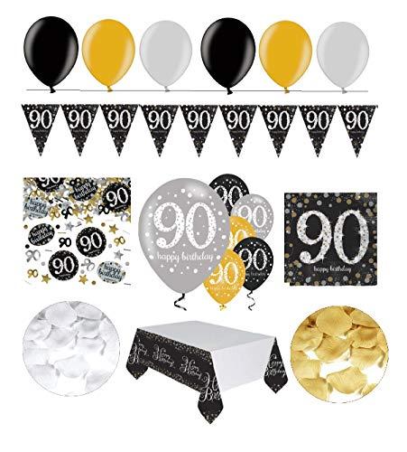 tagsdeko 90. Geburtstag | 31 Teile Deko-Set Luftballon Wimpel Girlande Konfetti Serviette Tischdecke Gold Schwarz Silber metallic Party-Set ()