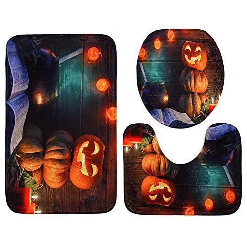 e Bad Dekoration, 3-teiliges Halloween Horror Kürbis Wasserdichter Polyester WC-Sitz-Deckel-Set, Rutschfest, quadratisch, U-Form, C, C ()