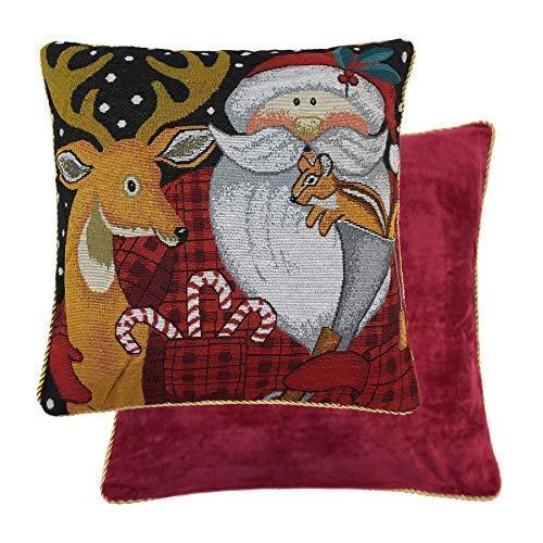 Gefüllt Weihnachtsmann Rentier Hirsch Eichhörnchen Rot Gold Chenile Kissen 46cm