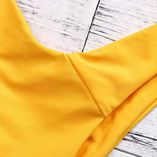 Kword Donne Costume Da Bagno Imbottito High Cut Biki Senza Spalline Costumi Da Bagno A Fascia Twist Frontale Perizoma Bikini Brasiliano Bikini Costume Da Bagno Giallo