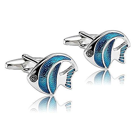 AMDXD Jewelry Stainless Steel Men Cufflinks Blue Angel Fish Angelfish