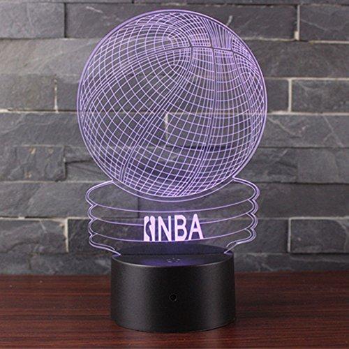 3D Lámpara de Escritorio Mesa 7 cambiar el color botón táctil de escritorio del USB LED lámpara de tabla ligera Decoración para el Hogar Decoración para Niños Mejor Regalo (Baloncesto NBA)