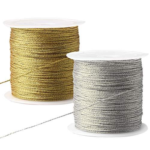Nuosen 2 rolle Metallic Kordel, 200 Meter Elastische Kordel Craft Cord für Geschenkpapier Dekoration Kunsthandwerk(Silber,Gold)